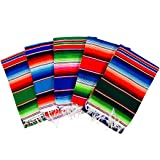"MEXIMART's® Authentic Medium Mexican Blankets Colorful Serape Blankets Assorted Colors 80"" x 48"""