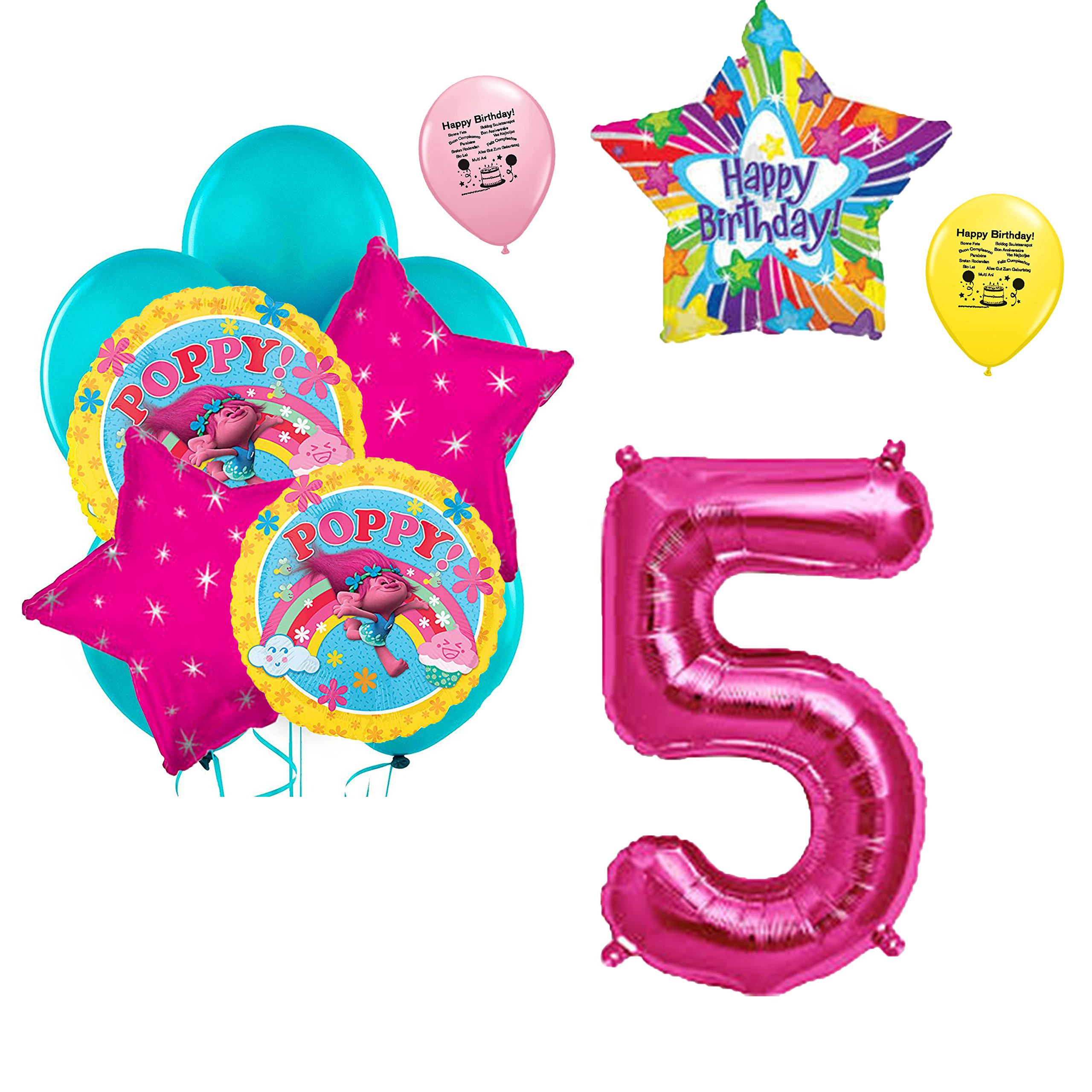 Details About Trolls 5th Birthday Balloon Bouquet