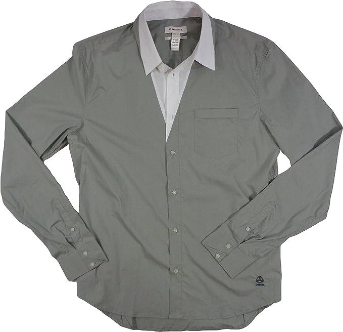 Diesel Camisa Blanca con Botones Spapo Camicia para Hombre: Amazon.es: Ropa y accesorios