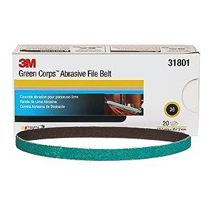 "3M 31801 Green Corps 1/2"" x 18"" 36 Grit Abrasive File Belt"