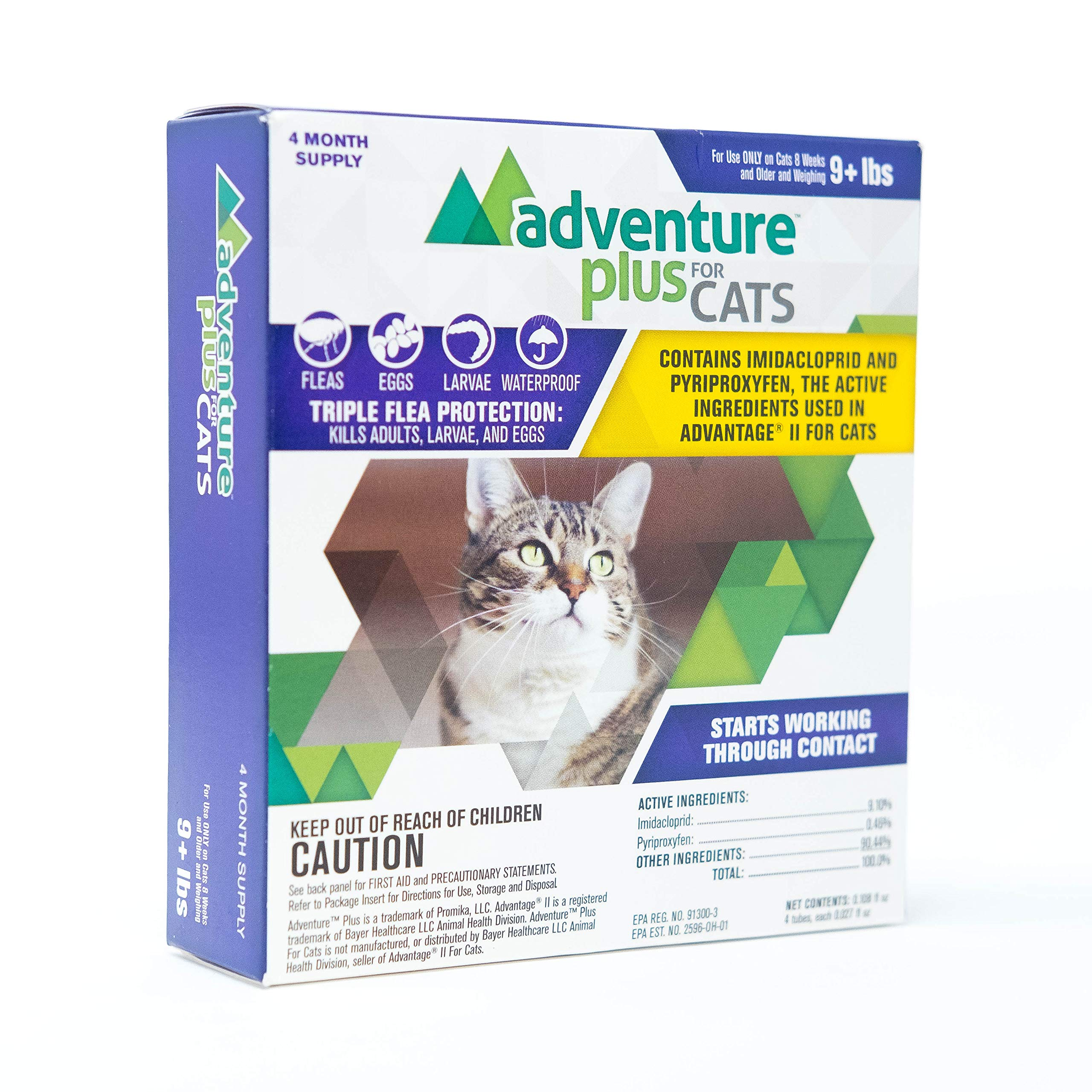 Adventure Plus Triple Flea Protection for Cats, 9 lbs and Over, 4 Months, 4 Doses by ADVENTURE PLUS FOR CATS