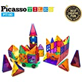 PicassoTiles 180 Piece Set 180pc Building Block Toy Deluxe Construction Kit Magnet Building Tiles Clear Color Magnetic 3D Construction Playboards Educational Blocks Creativity Beyond Imagination