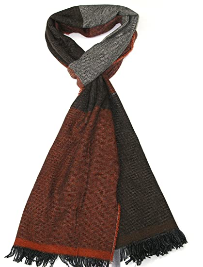 1739d72670046 Mens Scarves Brown - Lovarzi Wool Winter Scarf for Men - Striped Warm and Soft  Scarves