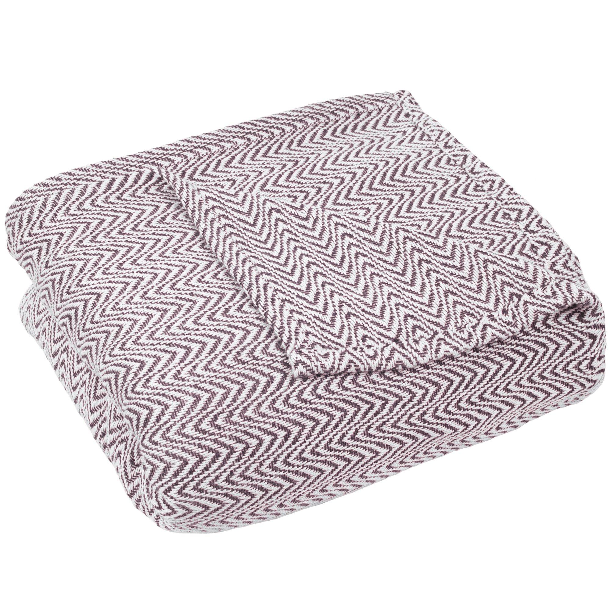 Blanket-100% Cotton King Chevron Luxury Soft Blanket by Lavish Home - Burgundy
