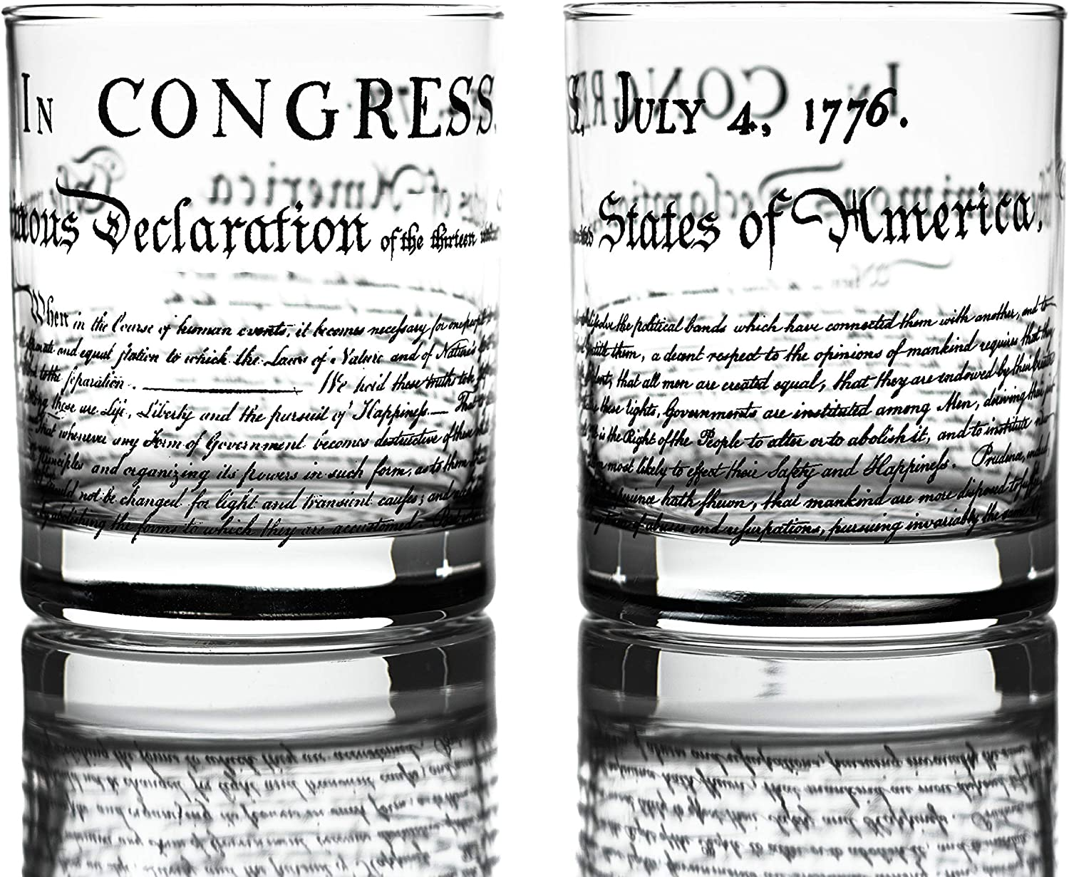 Greenline Goods Whiskey Glasses - Declaration of Independence (Set of 2) | 10 oz Tumblers - American US Patriotic Gift Set | Old Fashioned Cocktail Glasses