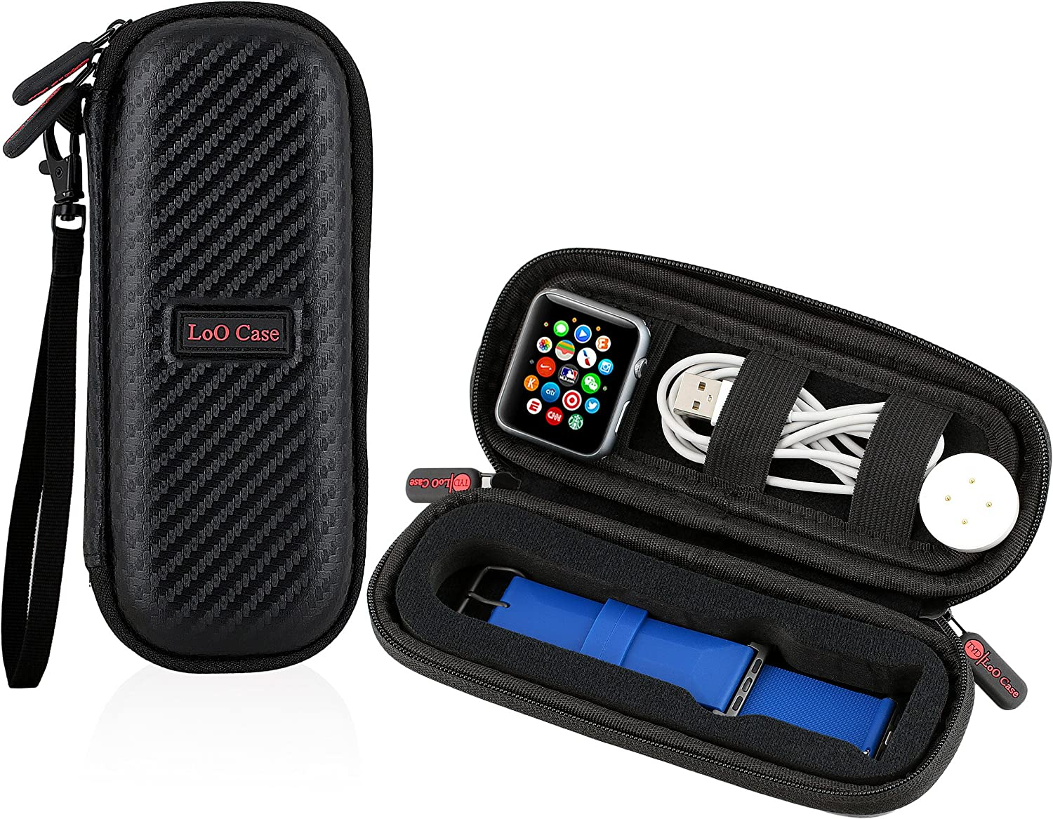 The LoO Company: Smartwatch Travel Case Compact – For Smart Watch, Compatible with Apple Watch, Fitbit Blaze, Huawei – Watch Bands & Accessories Case – Holds Multiple Smartwatch Bands (Carbon Fiber)