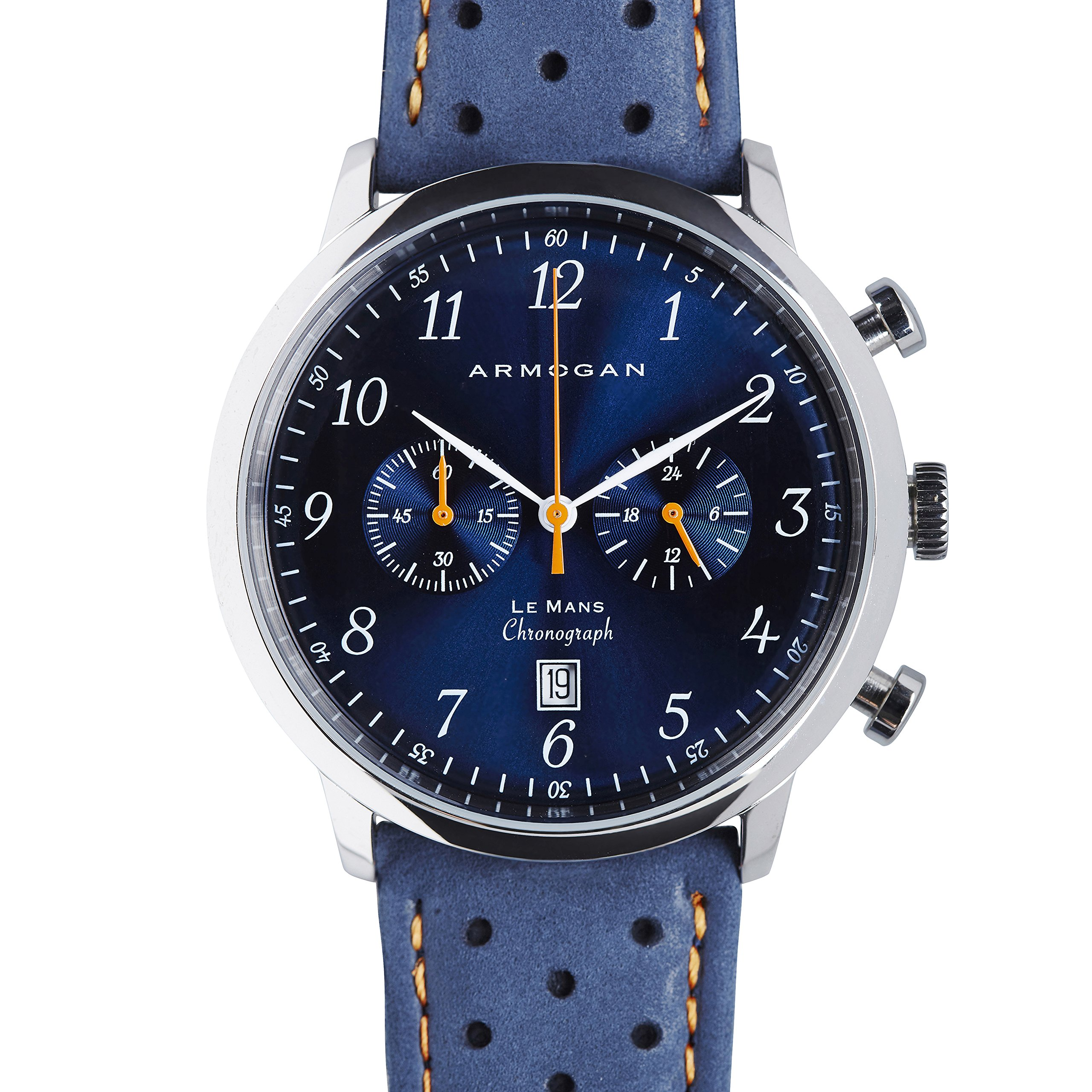 Armogan Le Mans - Blue Sapphire C41 - Men's Chronograph Watch - Perfored Suede Leather Strap