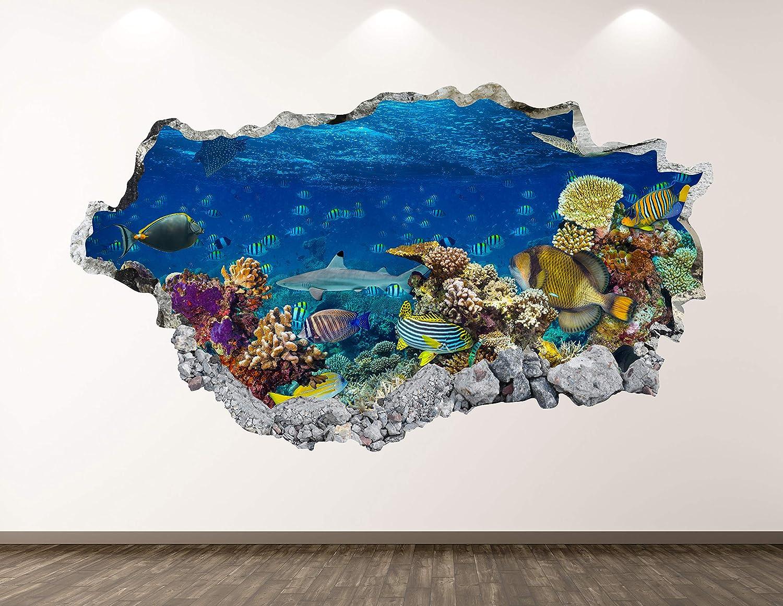 West Mountain Aquarium Wall Decal Art Decor 3D Ocean Sticker Mural Kids Room Vinyl Custom Gift BL51 (22