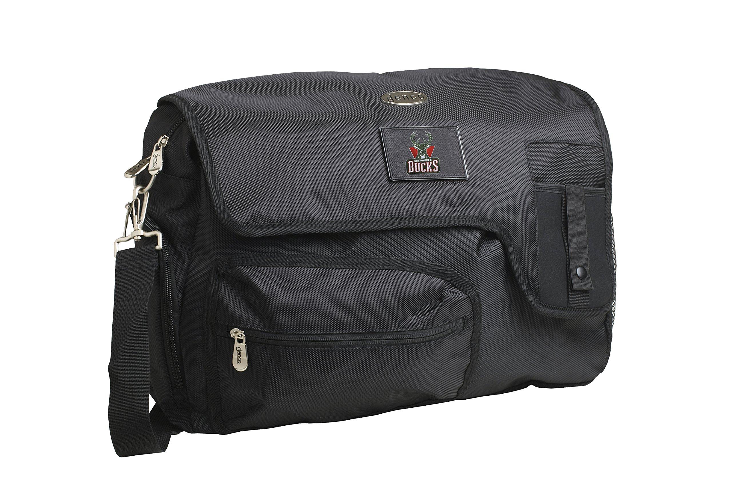 NBA Milwaukee Bucks Travel Messenger Bag, 15-Inch, Black by Denco