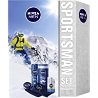 NIVEA MEN Sportsman Geschenkset, Pflegeset für Männer mit Creme, Deodorant, Pflegedusche, Gesichtscreme und Mikrofaser Handtuch, Weihnachtsgeschenke Set für den perfekten Trainingstag