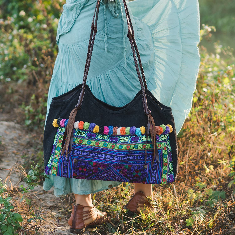 Pom Pom bag Beach Bag for Women Boho Shoulder Bag Bohemian Bag Changnoi Purple Diamond Tote Bag with Hmong Embroidered