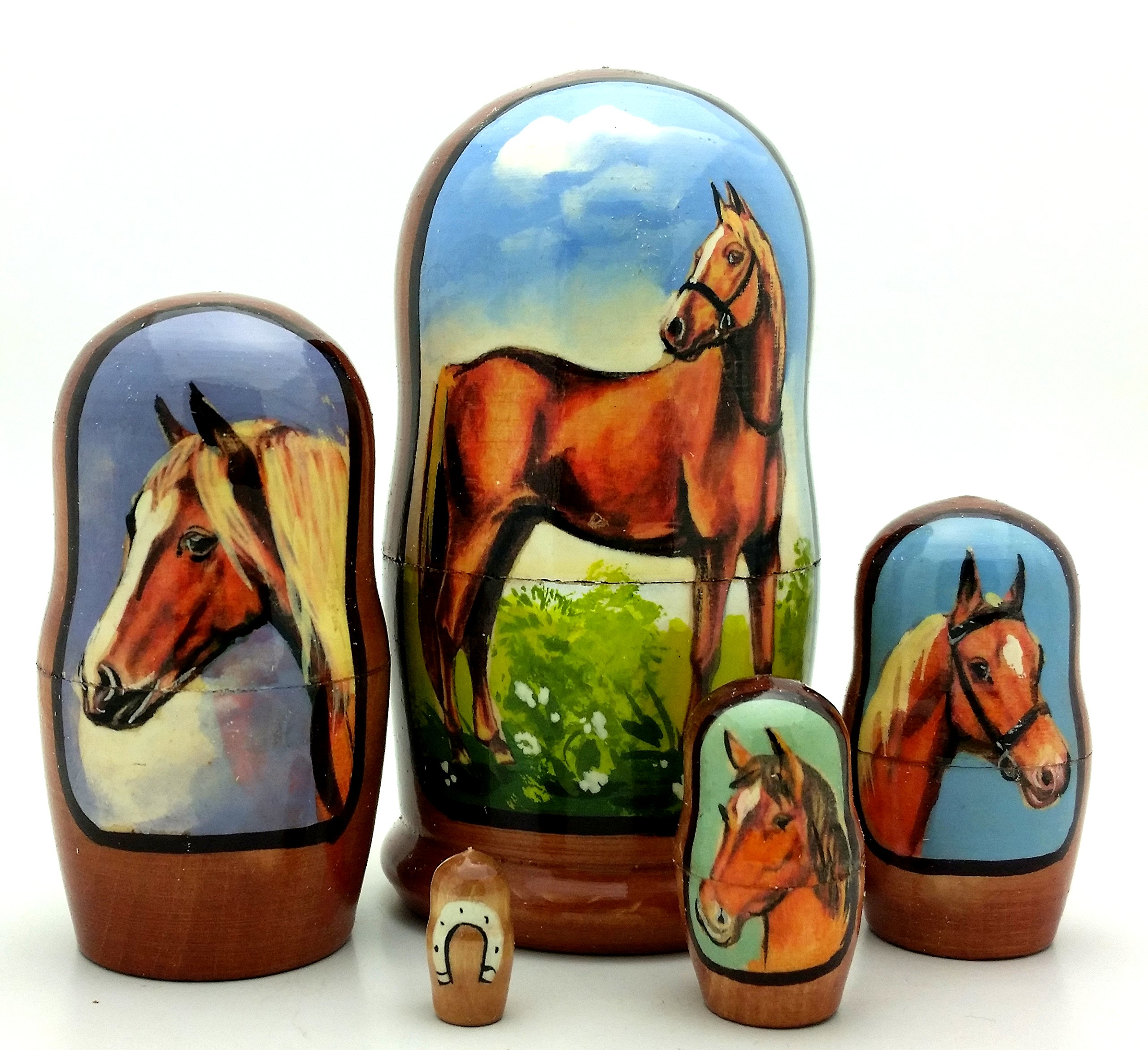 Horse Russian Hand made Nesting dolls 5 piece Set / small matryoshka Set by BuyRussianGifts
