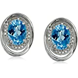 Sterling Silver Diamond with Licensed Swiss Blue Topaz Center Stud Earrings (1/10cttw, I-J Color, I2-I3 Clarity)