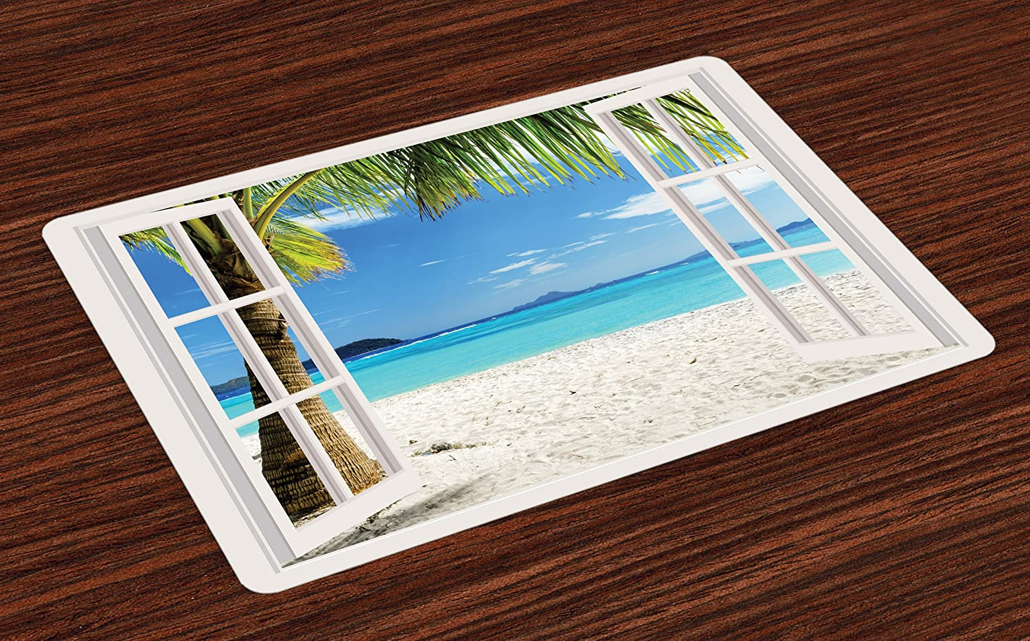 Ambesonne Turquoise Place Mats Set of 4, Tropical Palm Trees on Island Ocean Beach Through White Wooden Windows, Washable Fabric Placemats for Dining Room Kitchen Table Decor, Blue Green and White