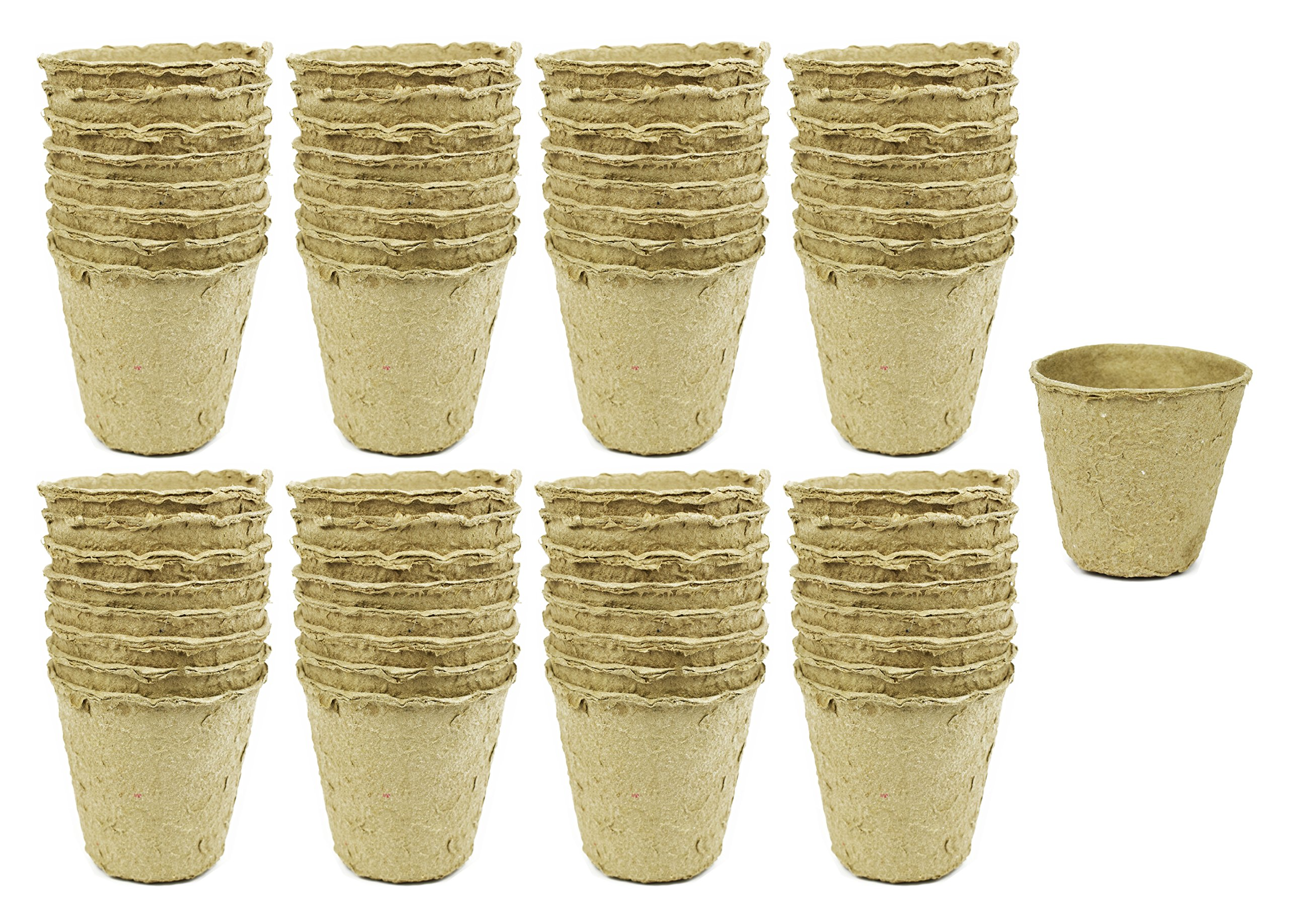 Set of 64 Biodegradable Eco Friendly Peat Pots! 3.125'' Diameter x 3'' - Recycled Non Bleached Peat Pots Perfect for Seed Germination! No Transplanting Required - No More Damaged Roots!