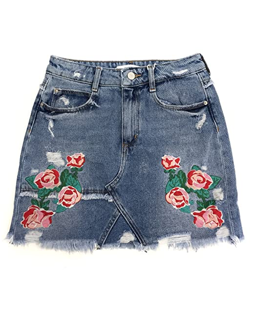 d4a8d7f929 Zara Women Embroidered denim mini skirt 6688/207 (Small): Amazon.ca ...