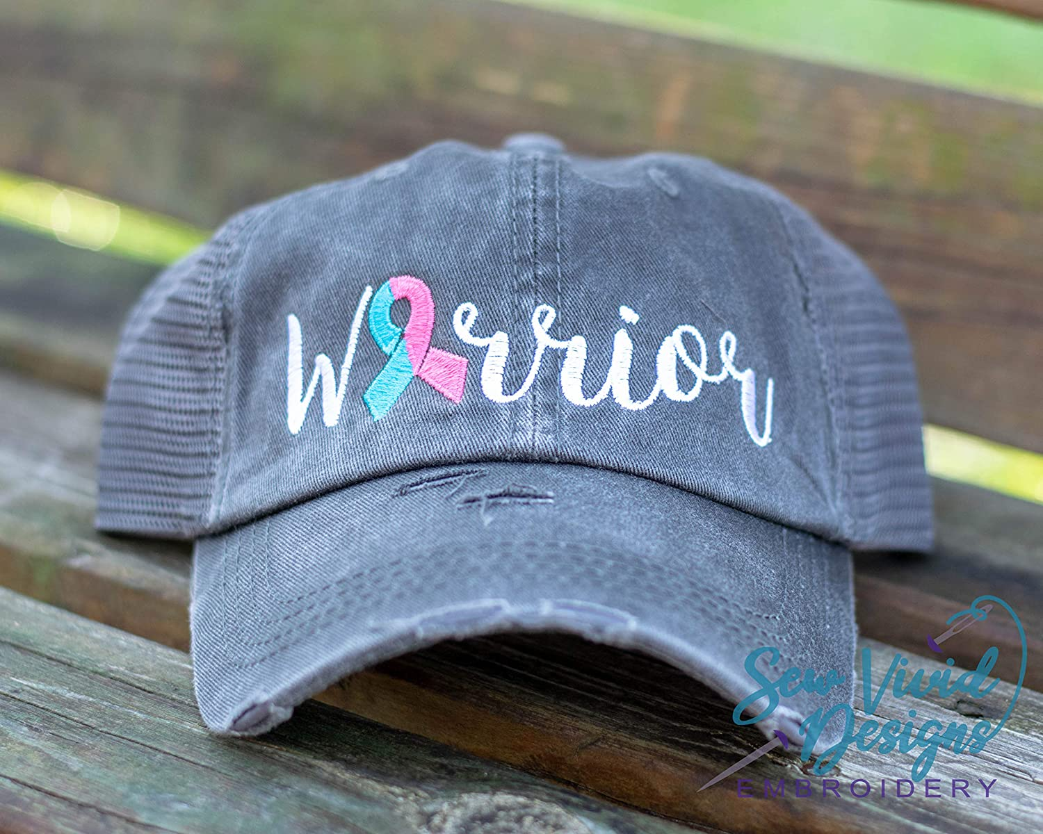 Infant Loss Warrior Hat with Custom Cancer Ribbon Color Embroidered Distressed Baseball Cap OR Ponytail Hat