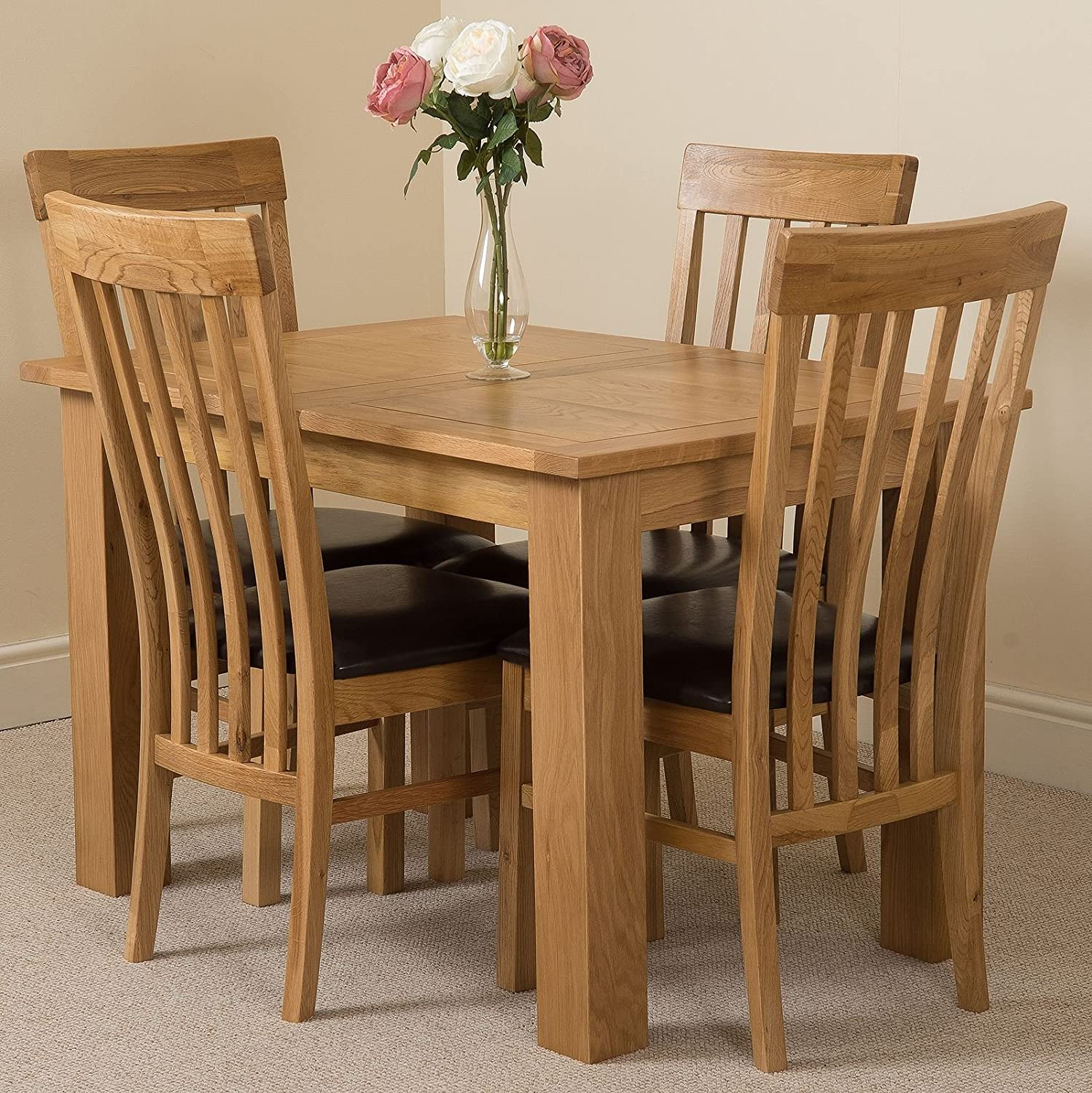 Hampton 120cm 160cm Oak Extending Dining Table And 4 Chairs Dining Set With Harvard Slat Back Chairs Amazon Co Uk Kitchen Home