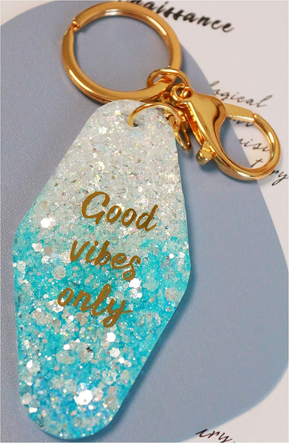 Cosmic Heart Keychain  key chains for women  motel tag hotel accessories black acrylic gold  mystical witchy gifts  souvenir gift