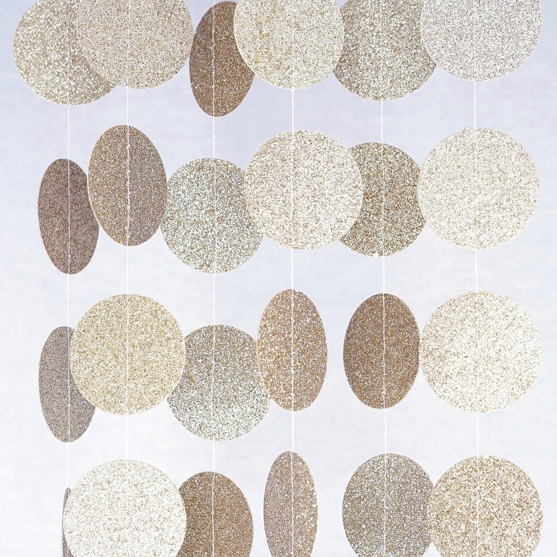 Chloe Elizabeth Circle Dots Paper Party Garland Streamer Backdrop (10 Feet Long) - Champagne Gold Glitter