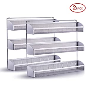 2 Pack- Simple Trending 3 Tier Spice Rack Organizer, Wall Mounted Spice Shelf Storager Holder for Kitchen Cabinet Pantry Door, Silver