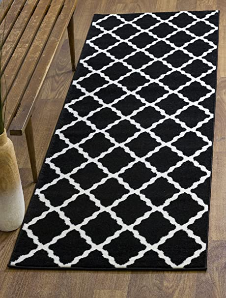 Amazon Area Rug Blue And Ivory Trellis Print Stain Resistant Carpet 5ft X 8ft Kitchen Dining