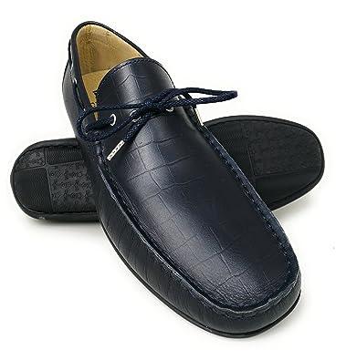 14b9973d855 Zerimar Chaussures Bateau en Cuir pour Hommes