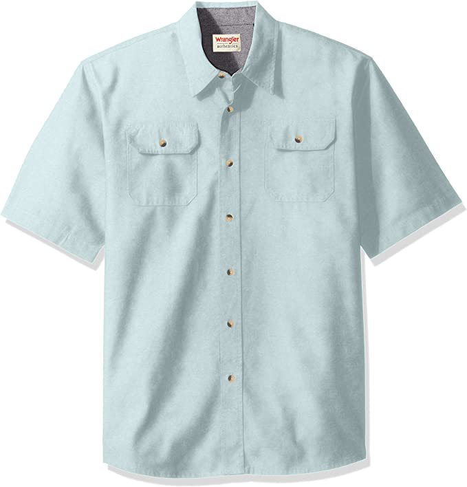 Wrangler Mens Authentics Short Sleeve Classic Twill Shirt, Sterling Blue, M: Amazon.es: Ropa y accesorios