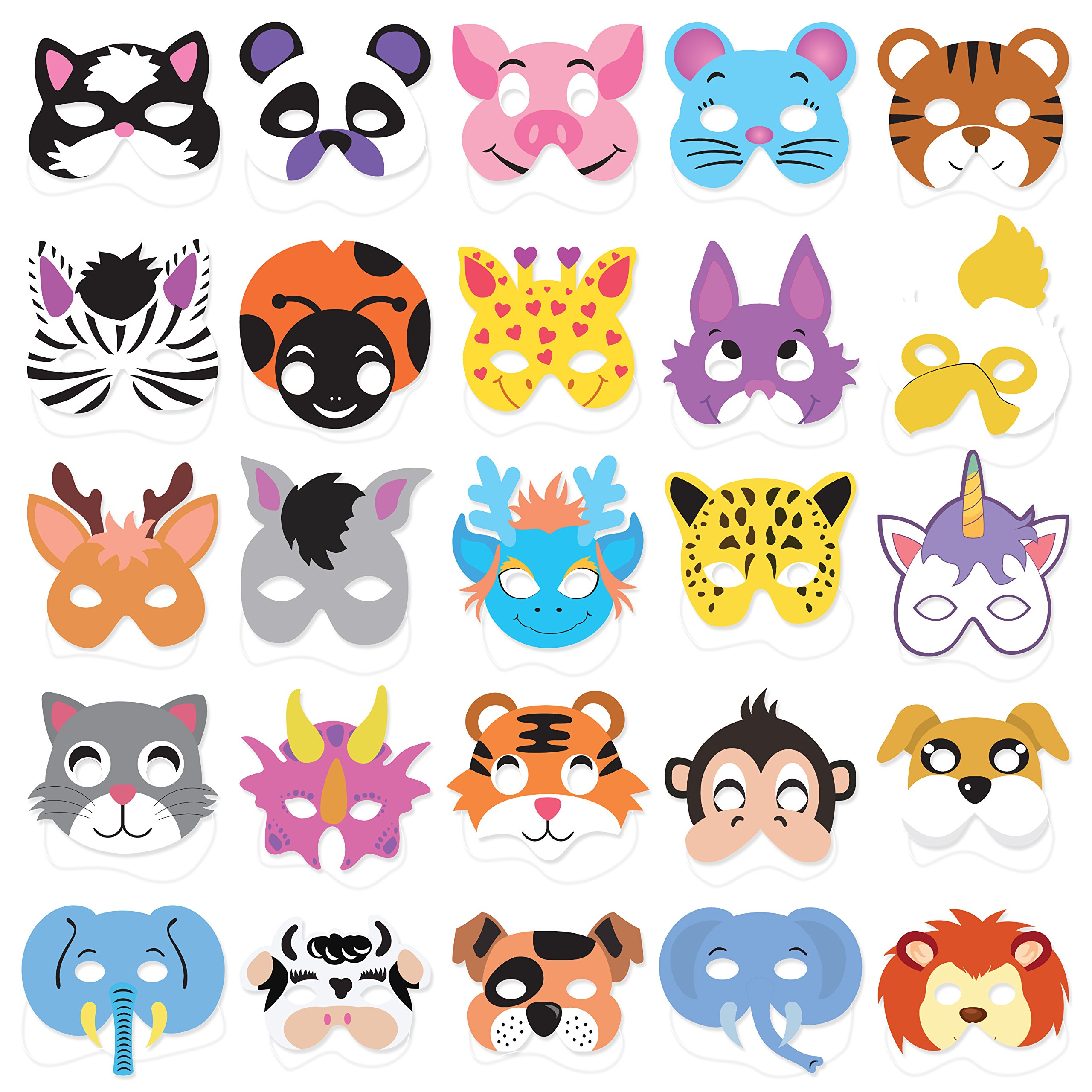 25PCs Animal Masks for Kids Birthday Jungle Safari Zoo theme Party Supplies Dress - up Party Kit Favors