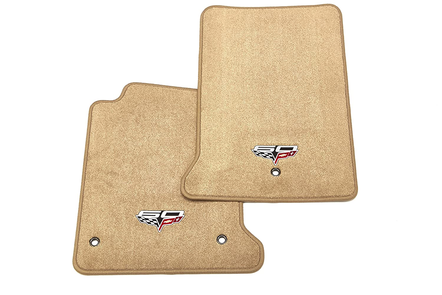 GM Accessories 22927123 Front Carpeted Floor Mats in Cashmere with 60th Anniversary Crossed Flags Logo General Motors