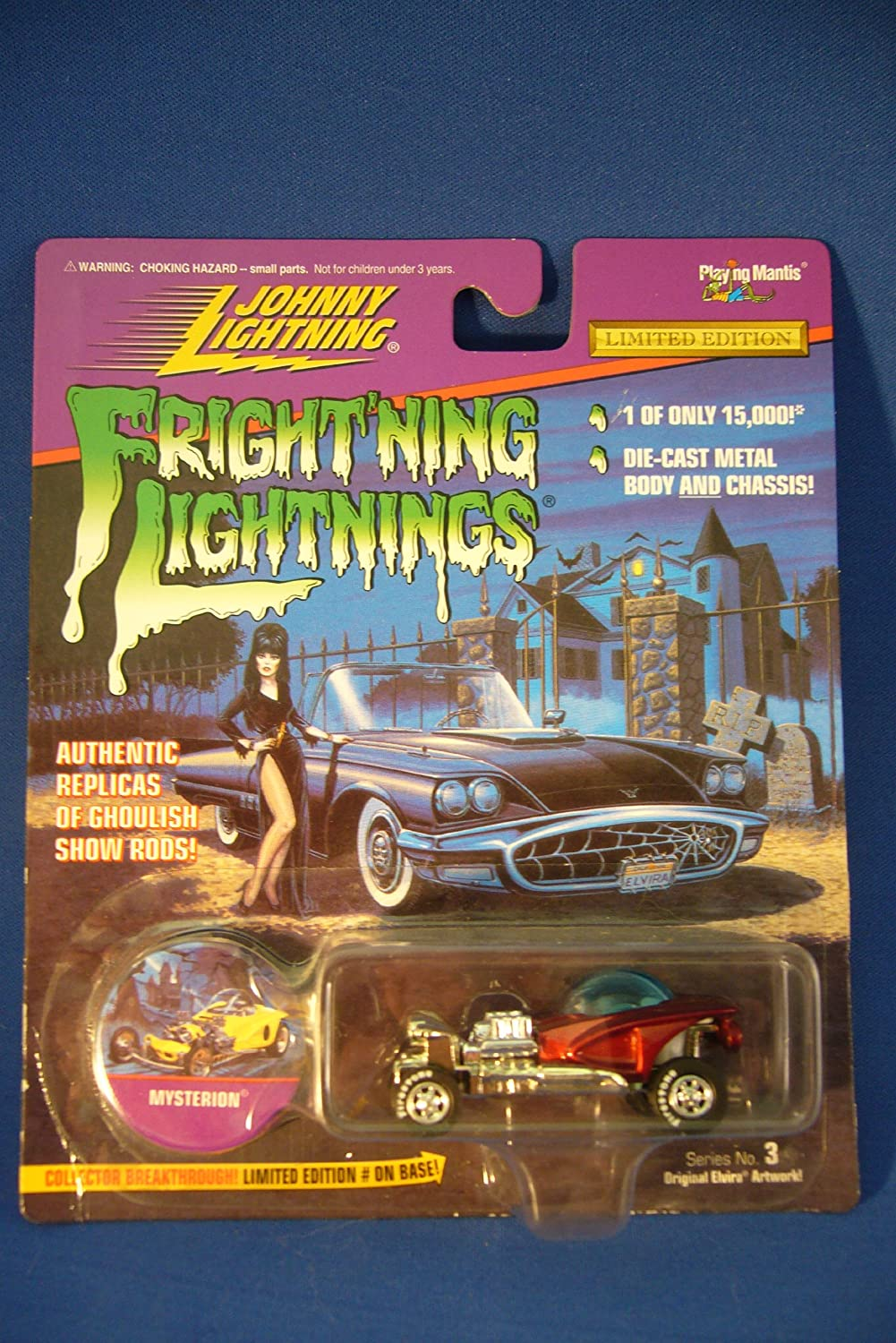 Elvira artwork on card Playing Mantis 411-03 Frightning lightnings JOHNNY LIGHTNING limited edition BOOTHILL EXPRESS grey series 3