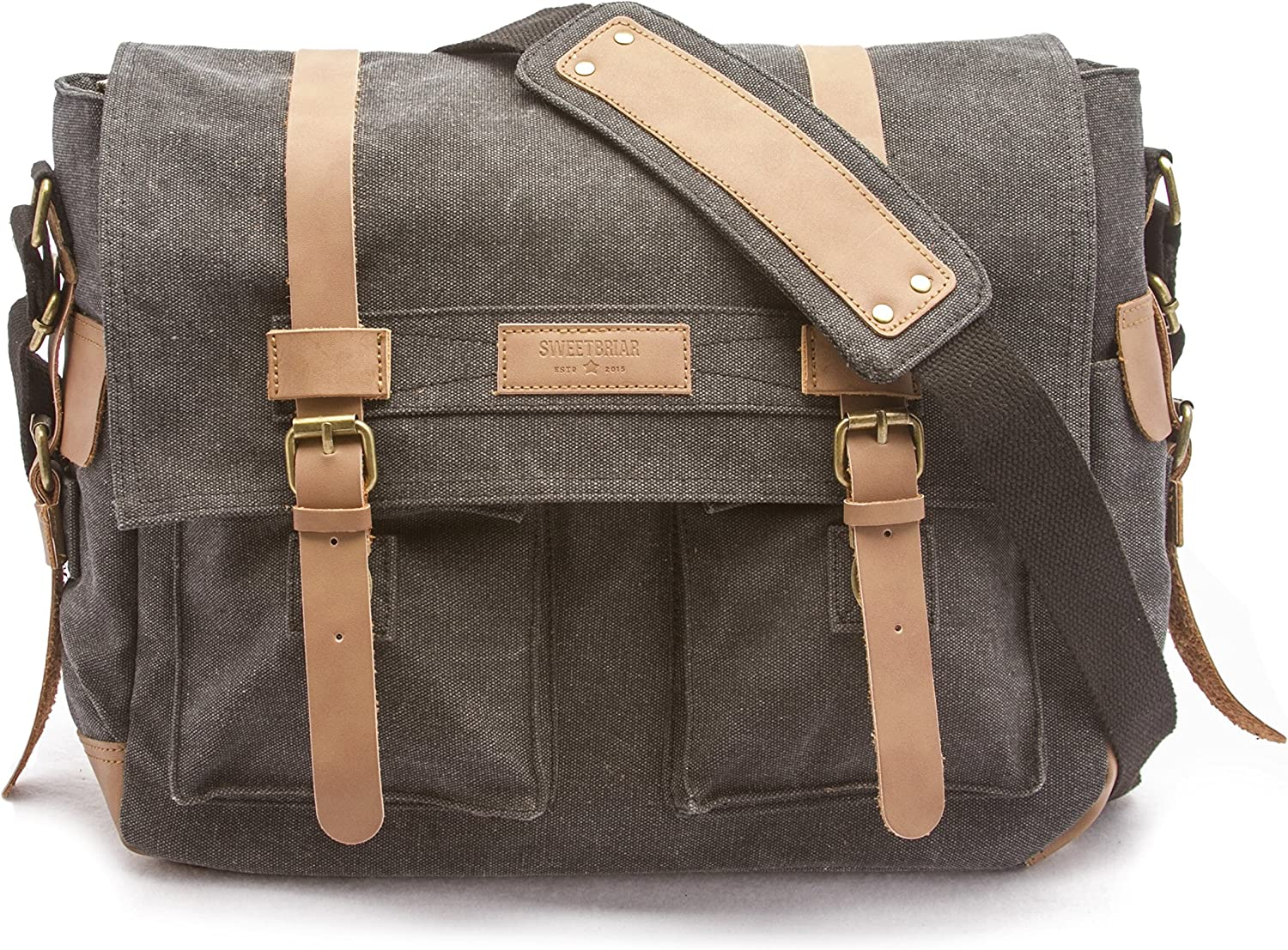 Sweetbriar Classic Laptop Messenger Bag, Black - Canvas Pack Designed to Protect Laptops up to 13 Inches