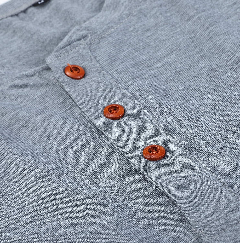 Cyiozlir Herren Langarmshirt Knopfleiste mit Grandad-Ausschnitt Longsleeve Shirt Premium T-Shirt Langarm Henley Shirt f/ür M/änner