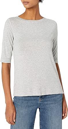 Daily Ritual Amazon Brand Women's Rib Knit Jersey Elbow-Sleeve Boat Neck Shirt