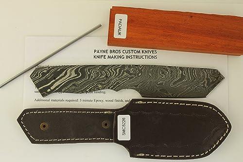Damascus Blade with Sheath Knife kit DIY Knife Kits Payne BROS