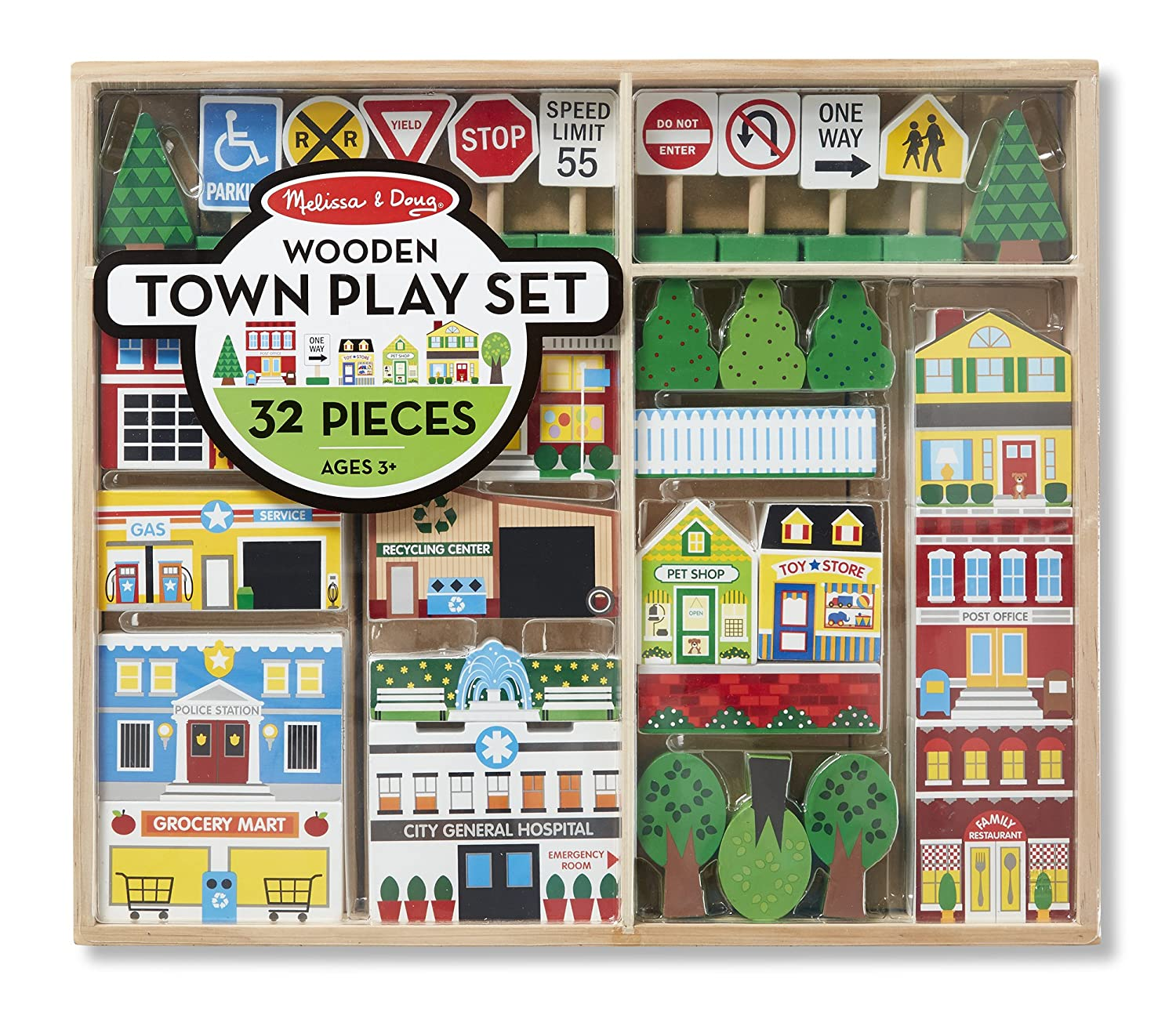 Melissa & Doug Wooden Town Play Set With Storage Tray (32 pcs) Melissa and Doug 4796