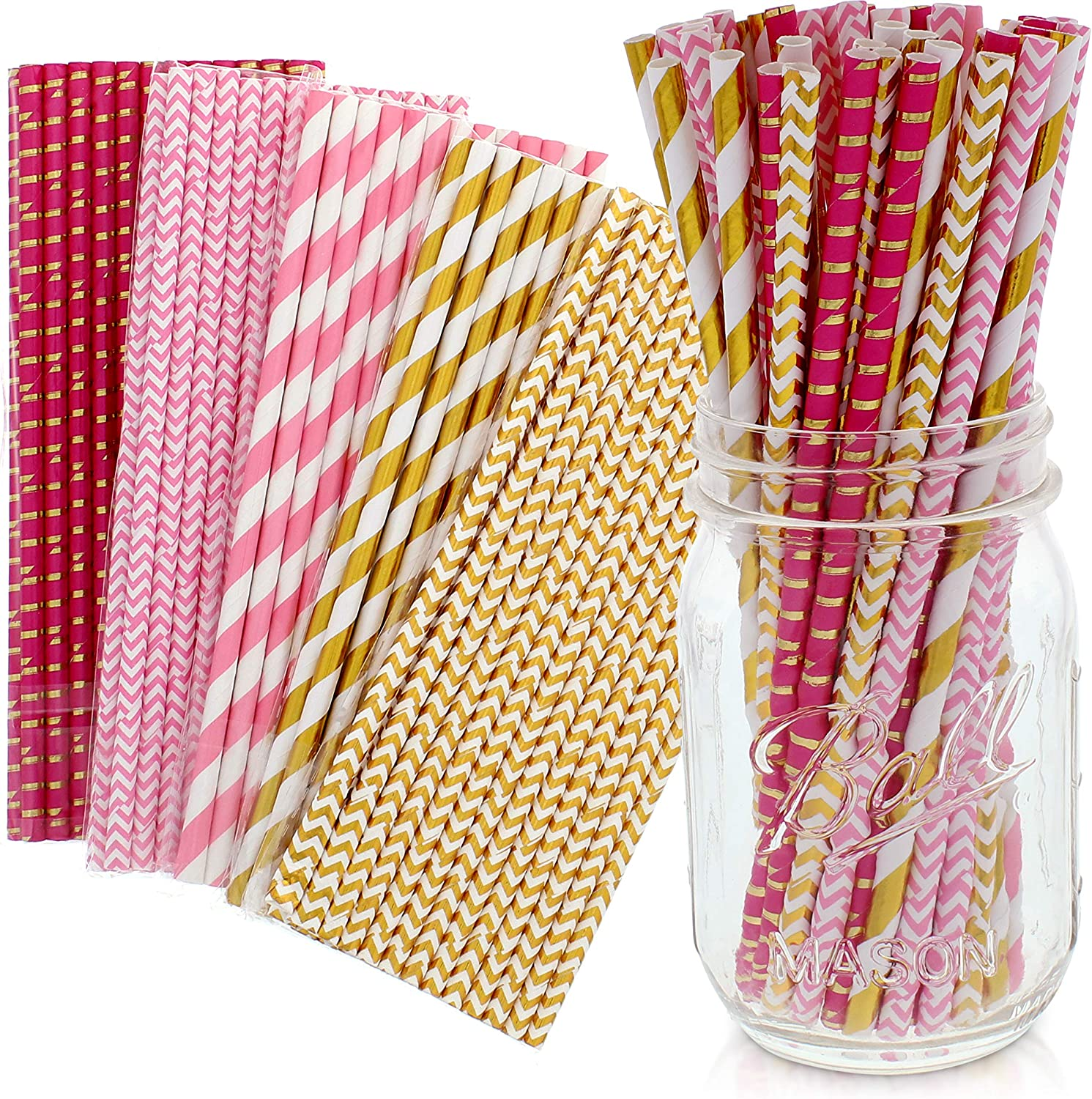 Party on Tap Pink and Gold Straws - Bulk Pack of 125 Assorted Paper Straws for Party Supplies, Birthday Parties, Baby Shower, Wedding Shower Decorations - 7.75 Inches