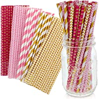 Party on Tap Pink and Gold Straws - Bulk Pack of 125 Assorted Paper Straws for Party Supplies, Birthday Parties, Baby…