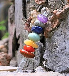 Crocon Mix Seven Gemstone Healing Stick for Energy Generator Reiki Healing Chakra Stone Balancing EMF Protection Spiritual Meditation Massage Therapy Home Interior Office Decor Size: 5-5.5 Inch