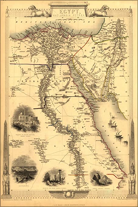 Amazon.com: 24x36 Poster; Map Of Ancient Egypt Published 1851 ...