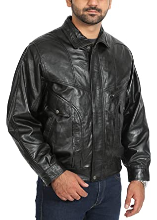 Mens Real Leather Bomber Jacket Gents Classic Blouson Coat PHIL ...