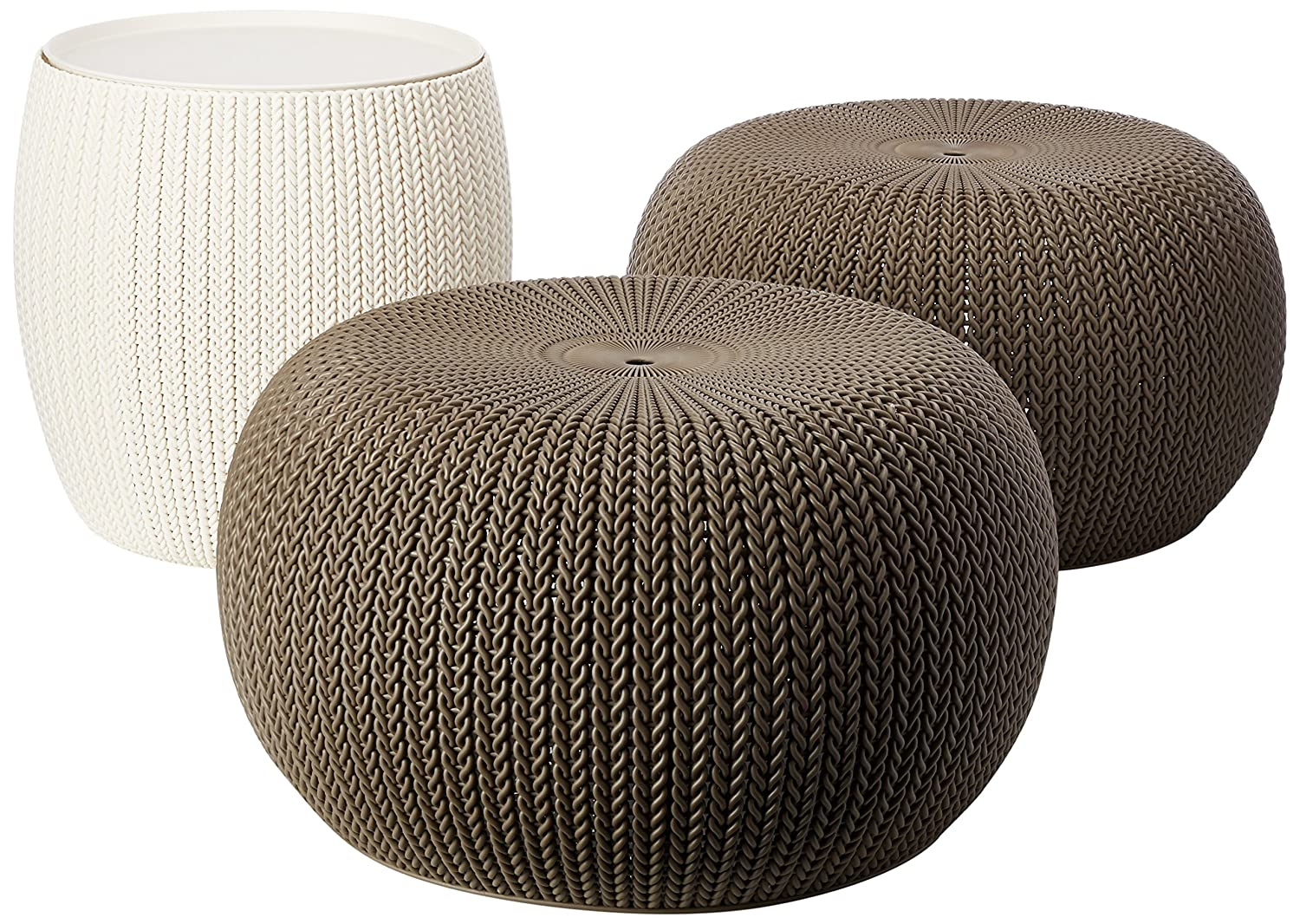 Keter 234242 Urban Knit Pouf Set, Cloudy Grey/Oasis White