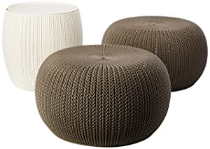 Keter 232044 Urban Knit Pouf Set, Harvest Brown/Cream