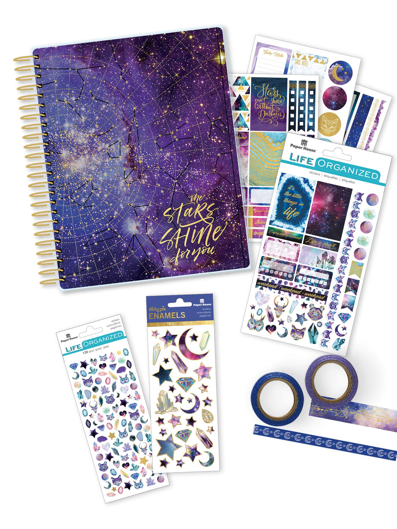 Paper House Productions SET-0010E Stargazer Accessory Bundle Includes 18 Month Undated Planner 3 Sticker Styles Washi Tape, Journal Diary