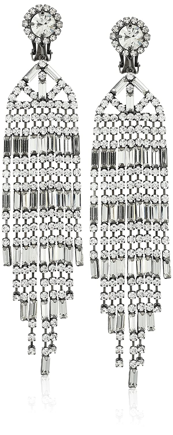 9 Row Gunmetal and Crystal Baguette Drop Earring