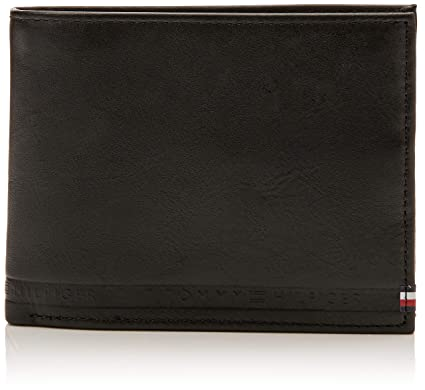 Tommy Hilfiger - Selvedge Emboss Cc Flap Coin, Carteras Hombre, Negro (Black)