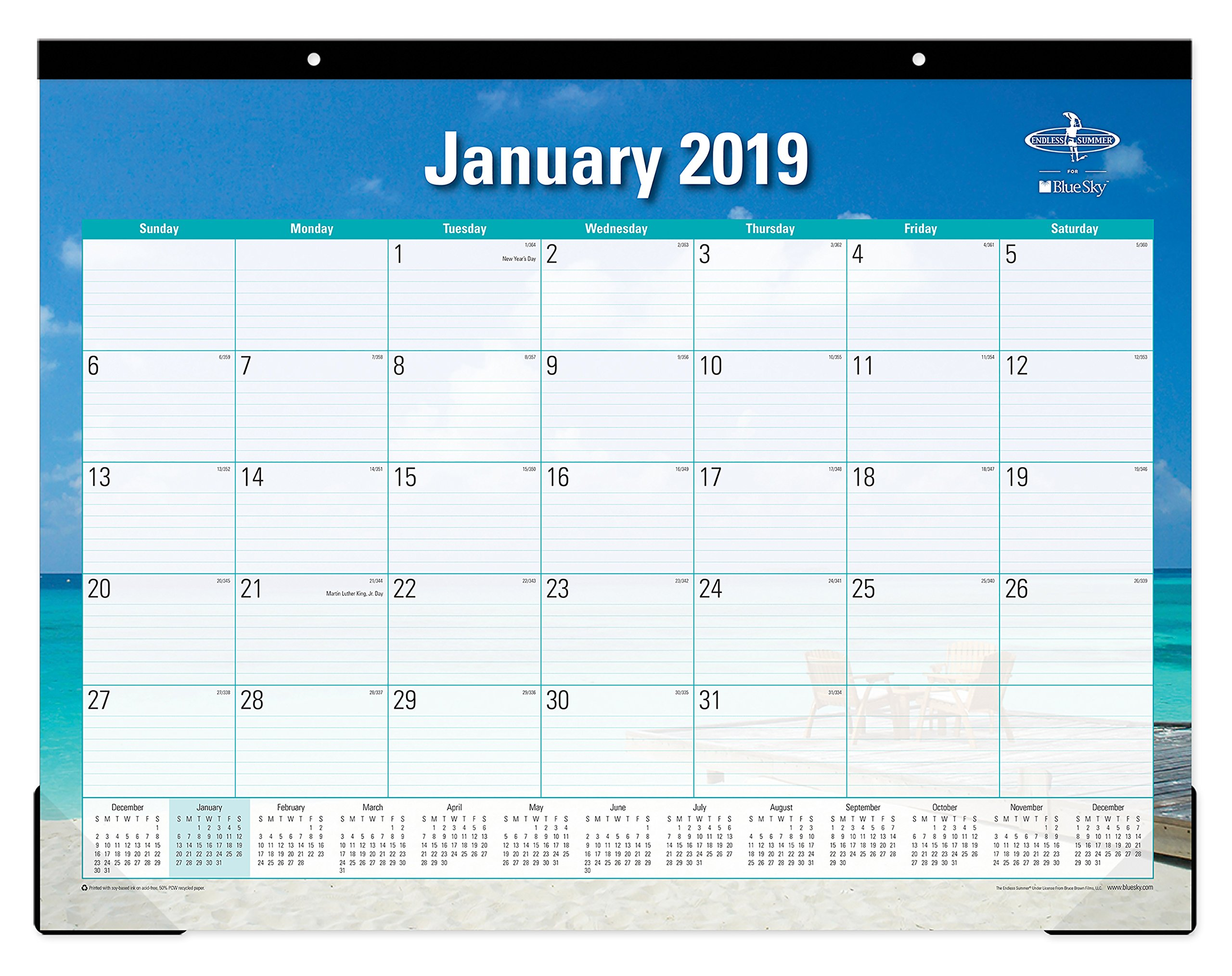 Blue Sky 2019 Monthly Desk Pad Calendar, Ruled Blocks, 22'' x 17'', Endless Summer