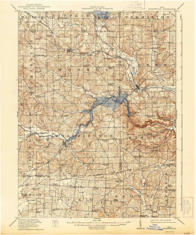 Perrysville Ohio Map.Amazon Com Yellowmaps Perrysville Oh Topo Map 1 62500 Scale 15 X