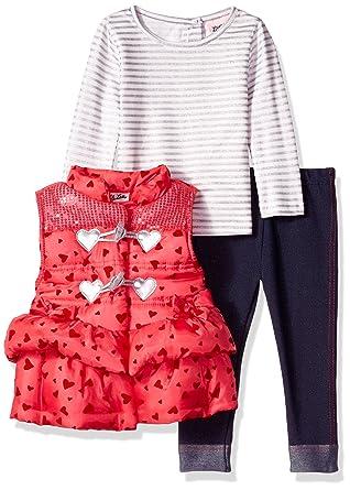 90397bcc5ca9 Amazon.com: Little Lass Baby-Girls Infant 3 Piece Puffy Vest Set: Clothing