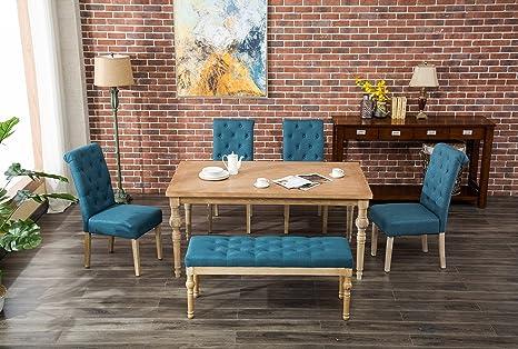 Tremendous Roundhill Furniture T161 C161Bu C161Bu Cb161Bu Habitanian 6 Piece White Wash Dining Set With Tufted Chairs And Bench Blue Inzonedesignstudio Interior Chair Design Inzonedesignstudiocom